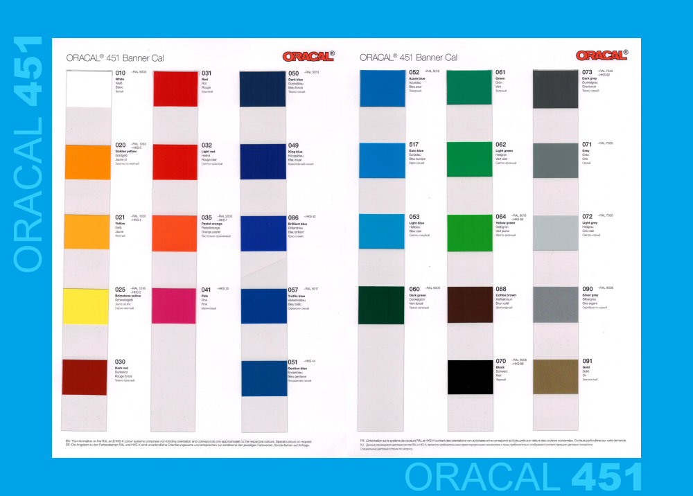 Oracal 451 Banner Cal Plotterfolie